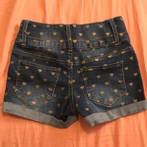 SO Bottoms - Girls heart denim shorts